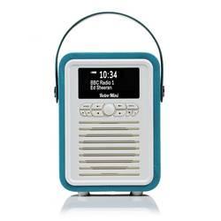 LOT DE 5 RADIOS RETRO MINI DAB / BT FM 5 WATTS SIMILI CUIR - BLEU ELECTRIQUE