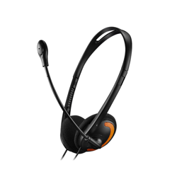 CASQUE MICRO HS01 TOUR DE TETE - NOIR/ORANGE